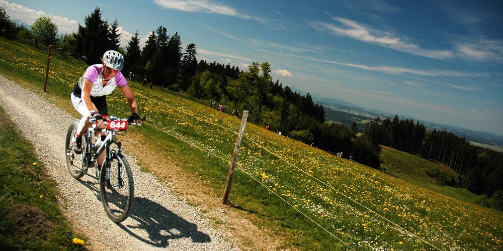 mountainbikerin bei einem radrennen